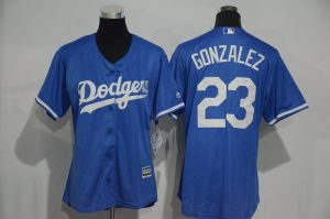 Womens 2017 MLB Los Angeles Dodgers 23 Gonzalez Blue Jerseys