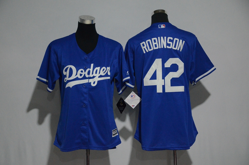 Womens 2017 MLB Los Angeles Dodgers 42 Robinson Blue Jerseys